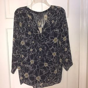 NWT NYDJ Navy White Yellow Floral Sheer Tunic L